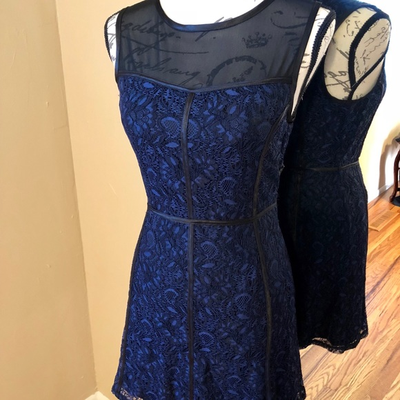Forever 21 Navy Blue Lace Dress Mesh Top Size M